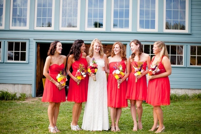 red-wedding-colors-bridesmaid-dresses-barn-wedding