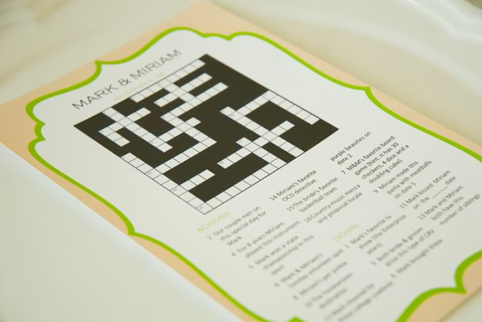 crossword puzzle games wedding