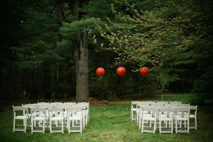Backyard Massachusetts wedding with red balloons