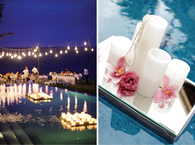 15 candle decor ideas for Floating candles swimming pool wedding