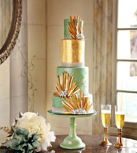 great-gatsby-wedding-cake-green