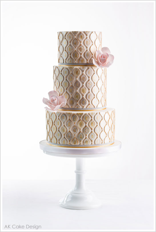 metallic-watercolor-wedding-cake-trend
