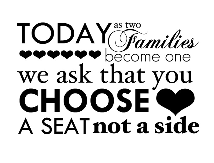 Choose a Seat - Not a Side - Free Wedding Printable - Landscape - from  IntimateWeddings.com