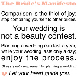 Intimate Weddings Bride's Manifesto
