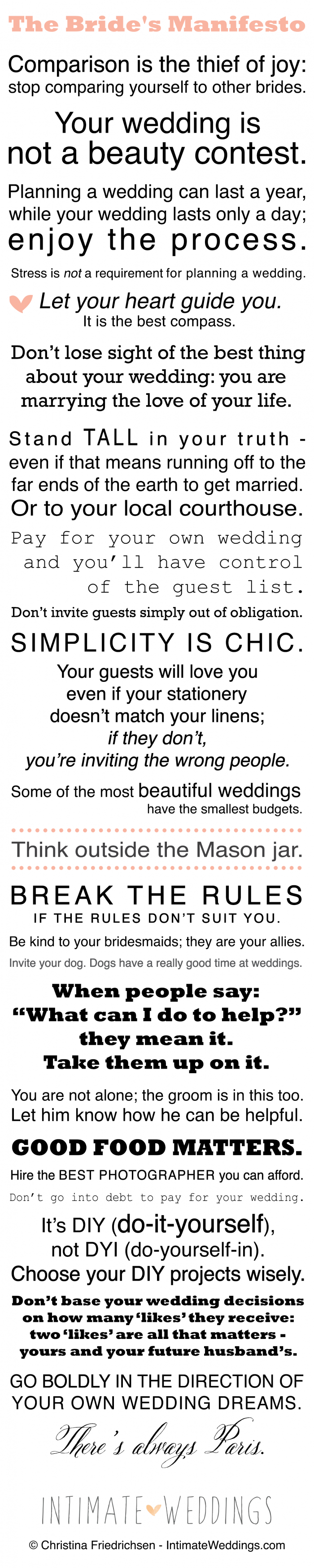 The Bride's Manifesto from IntimateWeddings.com