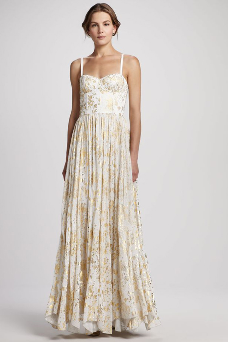10 Alternative Wedding Dresses under $500 | Gold and White Alice + Olivia Dress