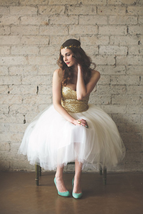 10 Alternative Wedding Dresses under $500 | Gold Bodice and Tulle Skirt