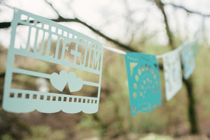 blue and white bunting - intimate tennessee wedding