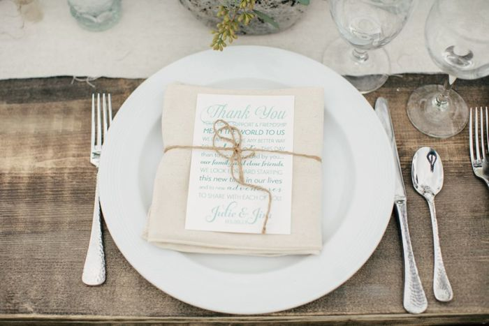 place setting and thank-you card