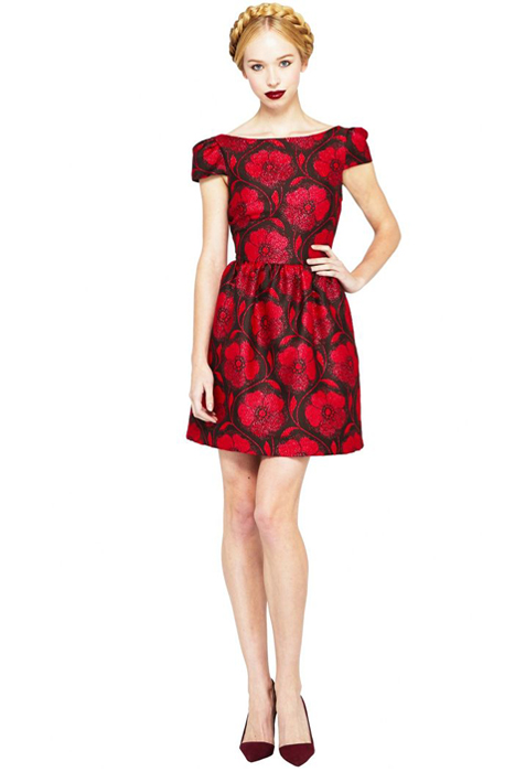 Floral and Printed Bridesmaid Dresses | Alice and Olivia Nelly Puffed Short Sleeve Dress