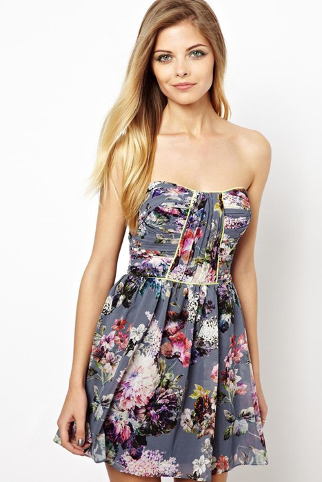 Floral and Printed Bridesmaid Dresses   Lashes Of London Dress In F loral Print With Fluro Piping