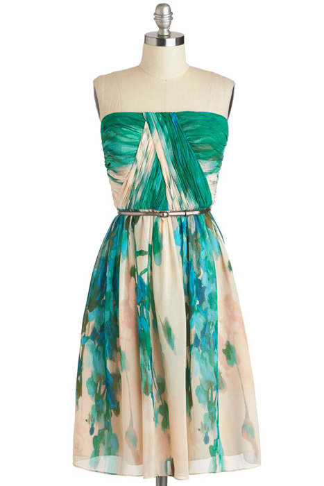 Floral and Printed Bridesmaid Dresses | ModCloth Scenery at Sunset Dress-in-Forest