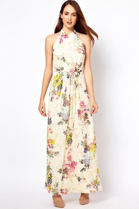 Floral and Printed Bridesmaid Dresses | Ted Baker Belted Maxi Dress in Summer Bloom Print