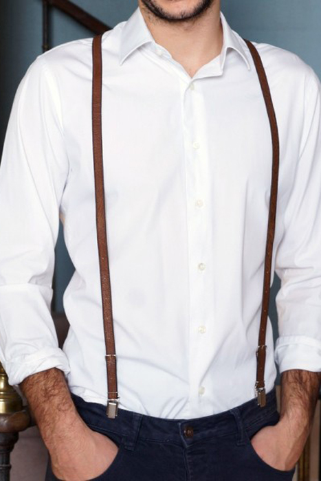 Stylish Groom Accessories | Skinny Leather Suspenders