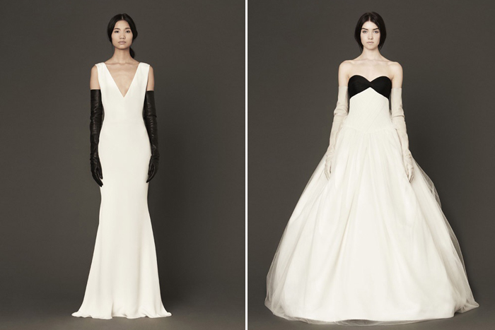 Black and White Vera Wang Wedding Gowns