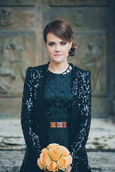 Black sequin wedding dress