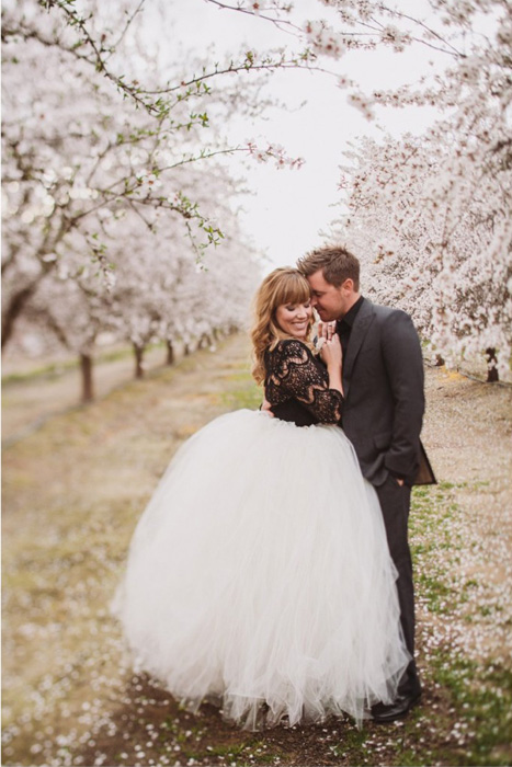 Black lace top and white tulle wedding skirt