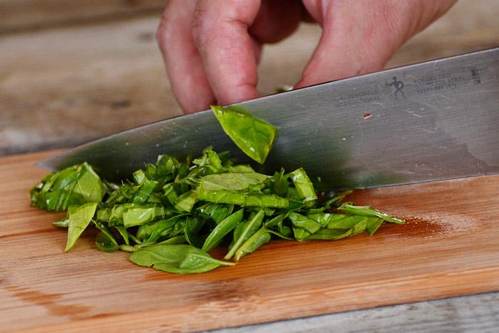 Bridal Shower Party Food - Homemade Bruschetta - Chopped Basil