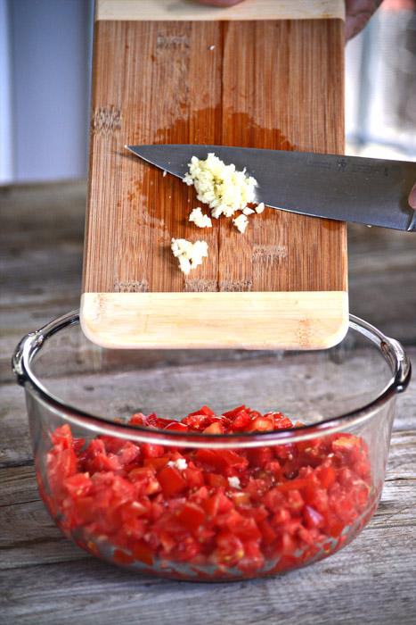 Homemade Bruschetta - Adding Ingredients