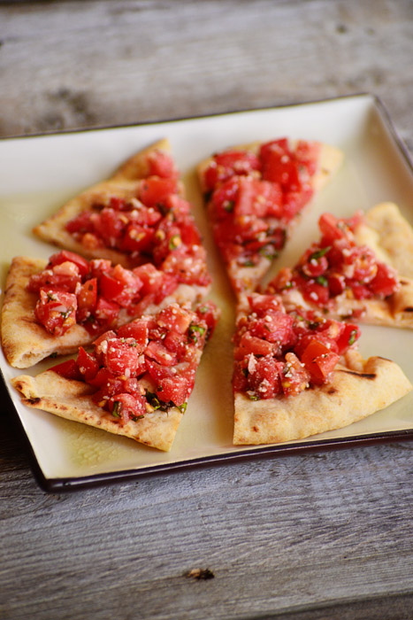 Bridal Shower Food - Homemade Bruschetta on Naan bread