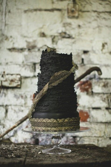 black ruffled wedding cake