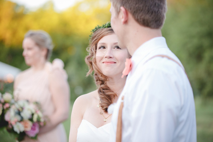 bride smiling at her groom