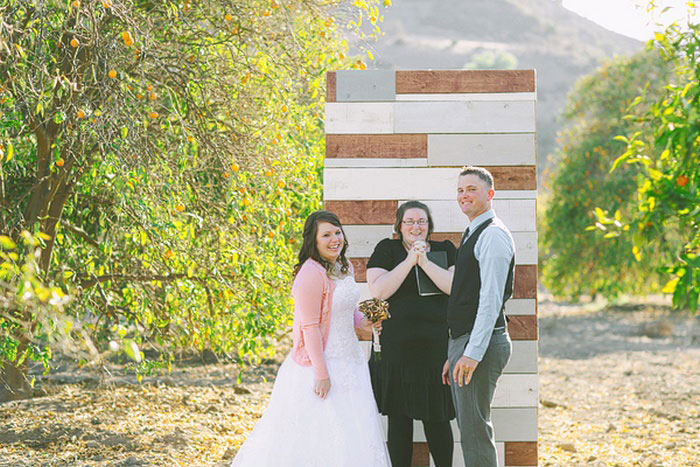 Orange grove elopement ceremony