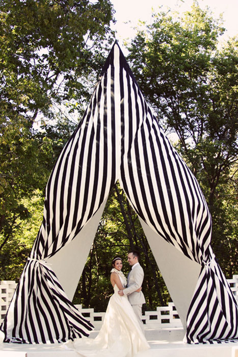 black and white striped wedding tent