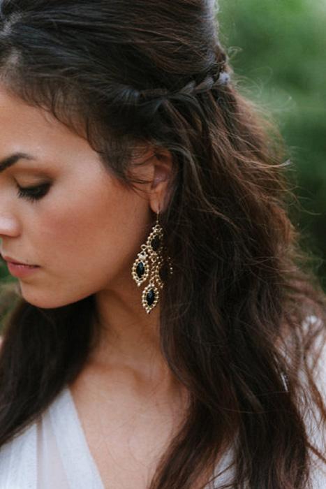 Emerald statement earrings