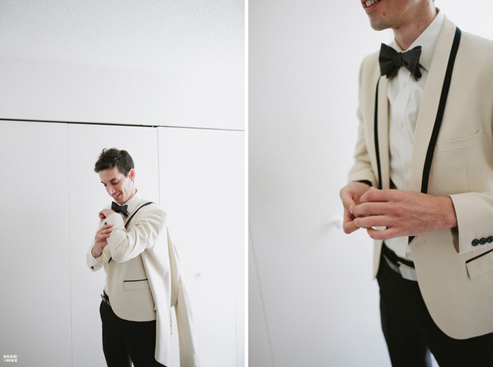 White tuxedo with black trim