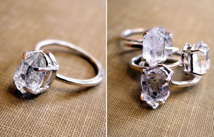 herkimer diamond engagement ring - Alternative Wedding Rings