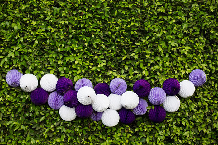 purple and white honeycomb garland