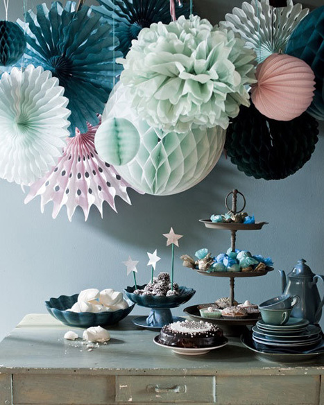honeycomb and paper pom chandelier