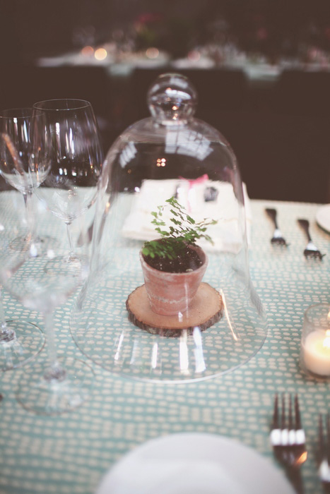 wedding centerpiece under bell jar