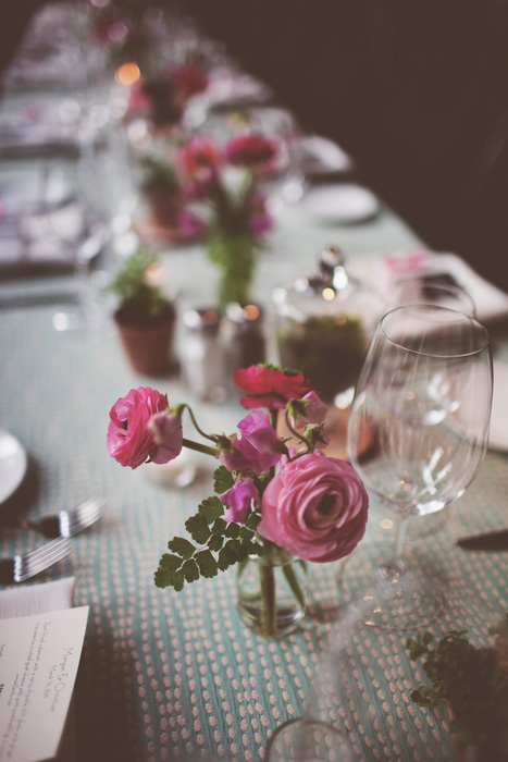 pink ranunculus wedding centerpiece