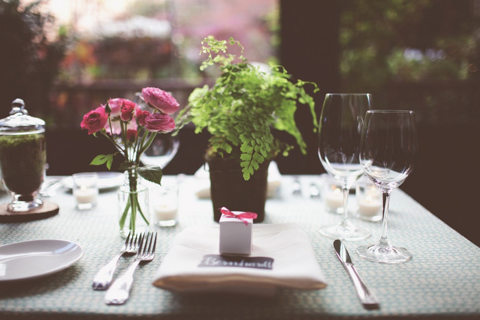 restaurant wedding reception table setting