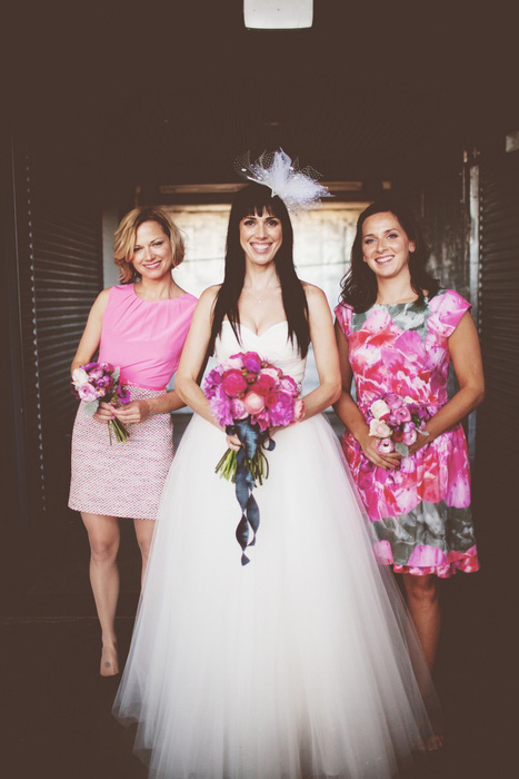 bride and pink bridesmaids
