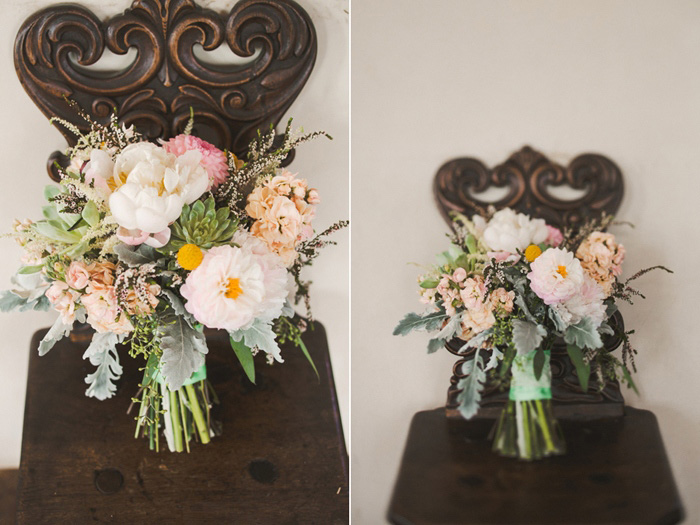wedding bouquet on ornate wooden chair
