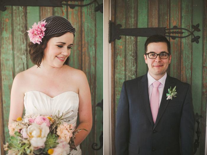 bride and groom portraits against green door