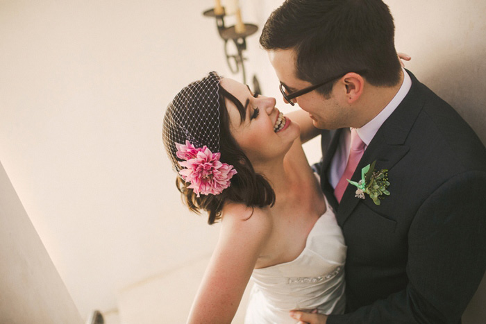 bride with pink peony fascinator