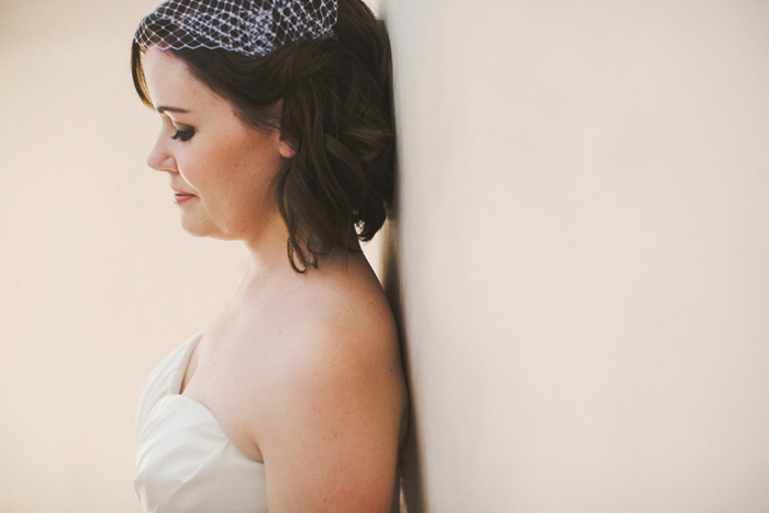 bride with birdcage veil
