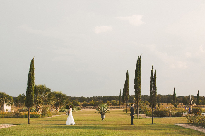 bride and groom in San Michele gardens