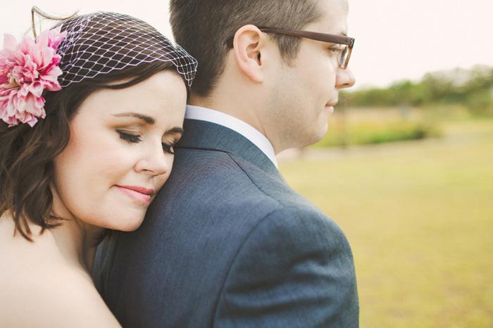 bride in peony fascinator