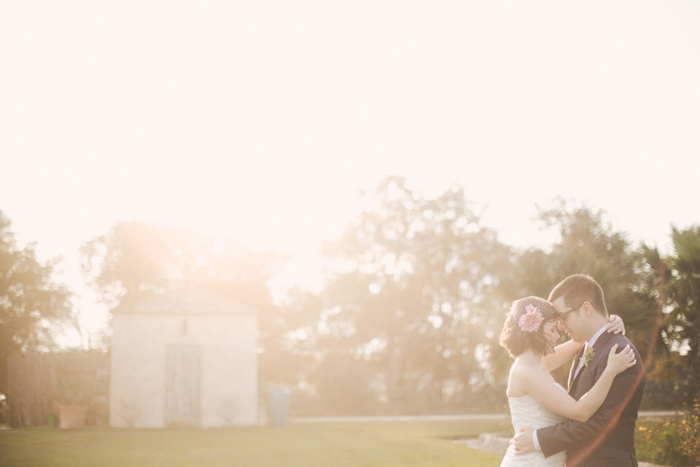 bride and groom portrait at sunset on Le San Michele grounds