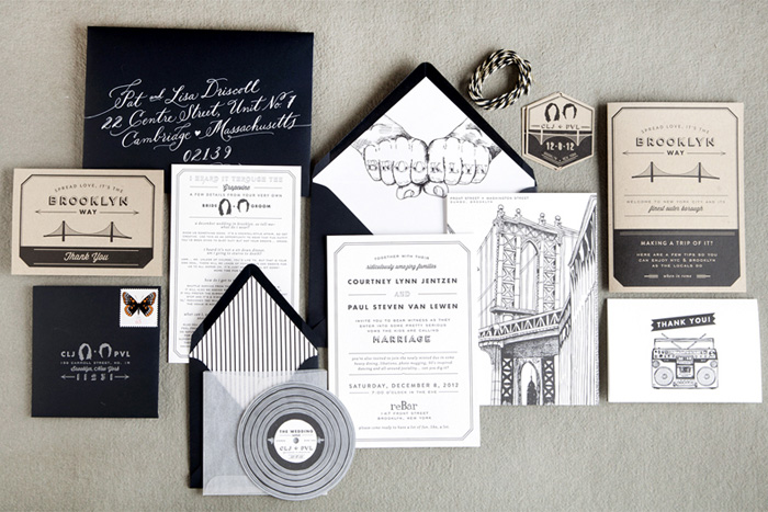 Artsy black and white wedding invitations
