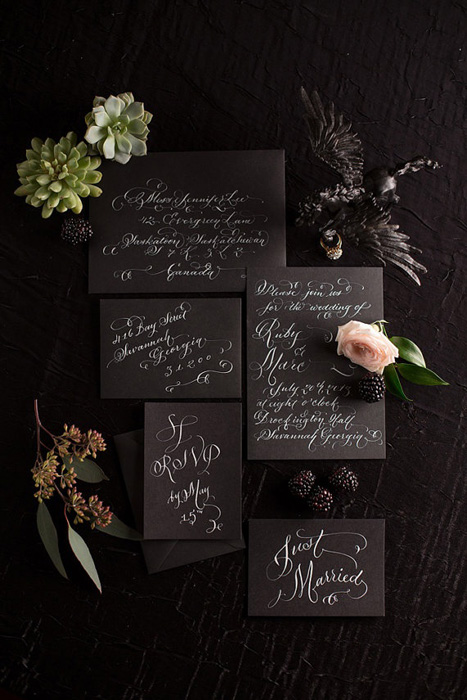 black wedding invitations with white calligraphy
