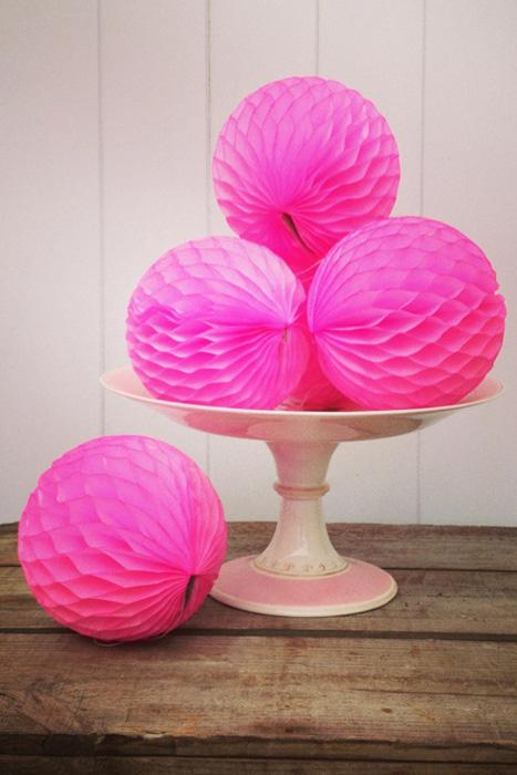 neon pink honeycomb centerpiece
