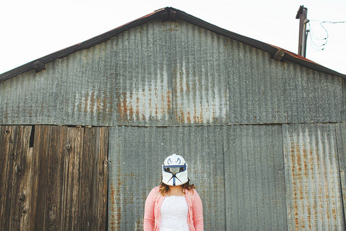 bride in Star Wars helmet