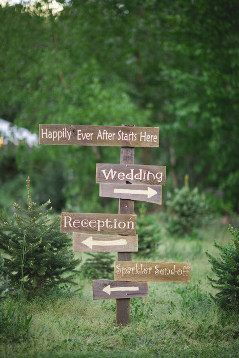 wooden wedding direction signs