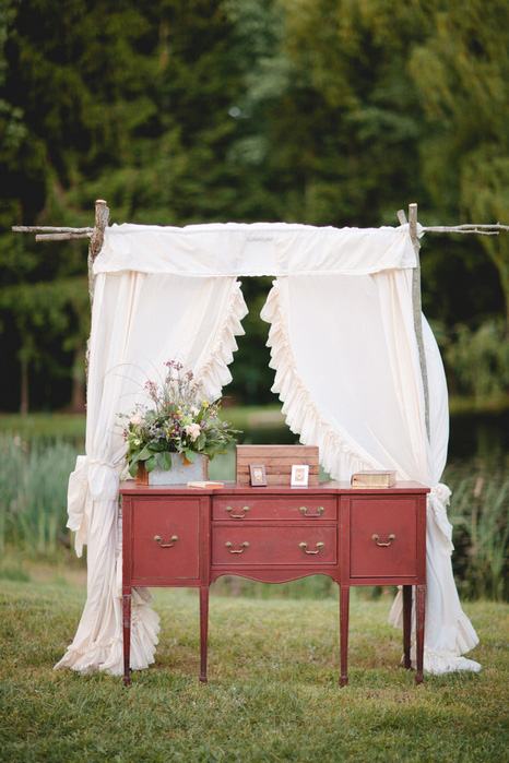vintage dresser as wedding altar